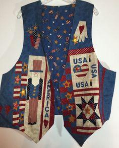 Handmade Patriotic Vest Womens XL Stars & Stripes Uncle Sam Made In USA July 4th #Handmade