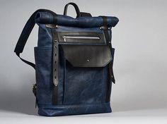 Mochila de cuero azul marino/negro. Hombres / mujeres mochila.