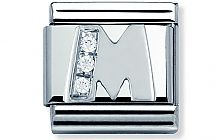Nomination Stainless Steel Letter M Classic Charm with Sterling Silver and Cubic Zirconia