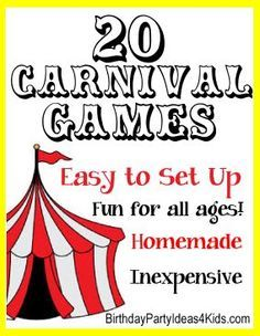 Easy Carnival games for a Carnival themed birthday party. Carnival games for kids that are easy to make and set up. Carnival backyard games, carnival games at a school, booth ideas, fun booth games for all ages. Carnival Games For Kids, Circus Carnival Party, Spring Carnival, Carnival Birthday Parties, Circus Birthday, Birthday Party Games, Carnival Ideas, Carnival Activities, Carnival Decorations