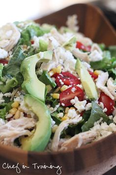 Feta Avocado Chicken Salad!  Perfect for a summer meal! You can easily make this vegan by leaving the meat out