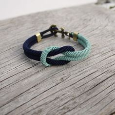 Nautical Square Knot Bracelet with anchor - Navy & MintHand crafted original nautical jewelry from Sweden since 1995 marissal.se