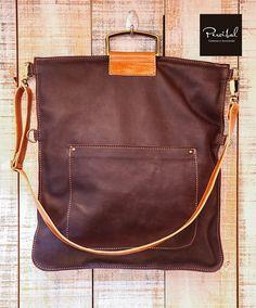 Braune Tasche, Ledertasche Mac, Schultasche Leder, Zip Beutel