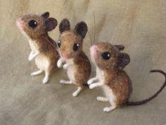 Reserved for Glenn- 3 needle felted mice