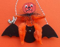 JOL on a BAT vintage style Halloween Tree ornament