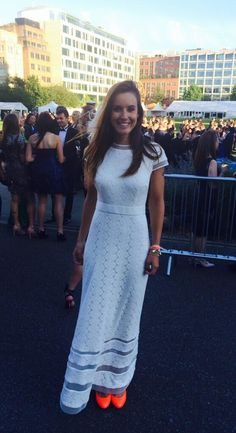 Charlie Webster looking stunning in Bernshaw 'Desmona' dress hosting The Grand Prix Ball last night.