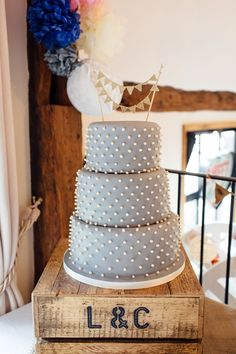 Polka Dot Cake Grey White Bunting Crate Home Made Rustic Eclectic Wedding… Polka Dot Theme, Polka Dot Cakes, Polka Dot Wedding, Polka Dots, Wedding Kiss, Wedding Bells, Our Wedding, Wedding Ideas, Wedding Things