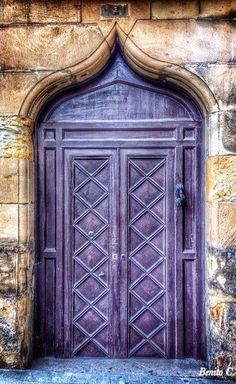 Ornate purple door and arched entrance Grand Entrance, Entrance Doors, Doorway, Cool Doors, Unique Doors, Door Knockers, Door Knobs, Gates, Purple Door