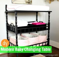 DIY Modern Baby Changing Table by The Sweet Spot Blog http://thesweetspotblog.com/before-after-changing-table/