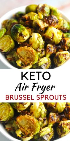 Air Fryer Brussel Sprouts {Easy Keto Recipe} - Momma Fit Lyndsey - - Air fryer brussel sprouts are an easy healthy weeknight recipe that will be a family favorite! This recipe is an easy keto recipe for your entire family! Air Fryer Dinner Recipes, Air Fryer Oven Recipes, Bacon Recipes, Keto Recipes, Healthy Recipes, Snacks Recipes, Chicken Recipes, Vegetarian Recipes, Disney Recipes