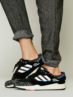 "On trend in black and white Addidas ""designer"" sneaks. Almost conservative. I said almost. keatonrow.com/nannsense"