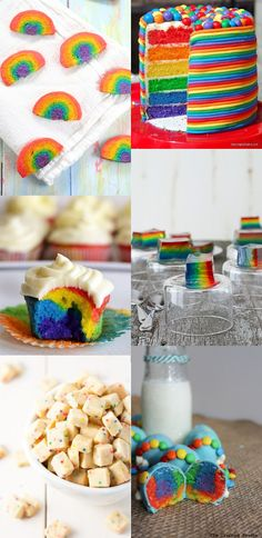 Fun and delicious Rainbow Recipes and treats that are perfect for St Patrick's Day or a rainbow birthday party! The kids are sure to go crazy over these! I seriously love these! Rainbow Parties, Rainbow Birthday Party, 4th Birthday Parties, Birthday Cakes, Birthday Ideas, Rainbow Treats, Rainbow Food, Rainbow Desserts, Fun Desserts