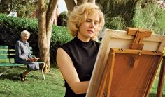 Photos: Tim Burton, on the Set of Big Eyes -- Vulture Margaret Keane on bench behind Amy Adams portraying her Walter Keane, Amy Adams, Tim Burton, Margareth Keane, Big Eyes Movie, Big Eyes 2014, Keane Big Eyes, Colleen Atwood, Dog The Bounty Hunter
