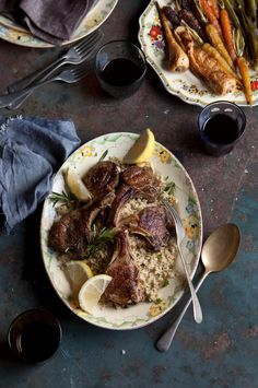 "Grilled lamb chops with with rosemary and garlic on lemon cauliflower 'cous cous"" #recipes"
