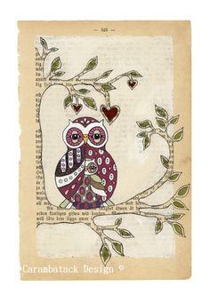 Under min vinge - Signert trykk i størrelse. Art by Annette Mangseth Format A3, Owl Always Love You, Owl Print, Teaching Art, Teaching Ideas, Altered Books, Book Crafts, Paper Design, Love Art