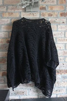 It's really easy to crochet. I made two ponchos one for me (size S) and one for my mom (size L). But if you need bigger size just add more tapes. The tape width is 16 cm.
