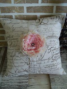 Items similar to French Document Script Light Pink Peony Pillow Slip on Etsy. , via Etsy.