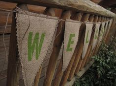 Upcycled WELCOME Burlap Banner with green letters by enduredesigns, $40.00