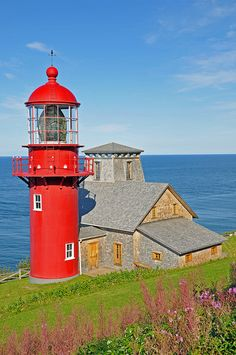 Pointe-à-la-Renommée Lighthouse Canada  The most travelled lighthouse in the world! Made in France and after 20 years of exile in Québec City, the Pointe-à-la-Renommée Lighthouse was returned to its initial site as an element of Gaspésie's architectural heritage.