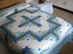 king size log cabin star quilt pattern   Blue and Yellow Colorado Log Cabin Quilt