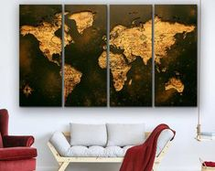 Large Canvas Prints Modern Wall Art for Home & by WALLARTSDECOR Blue Wall Decor, Modern Wall Decor, Wall Art Decor, World Map Canvas, World Map Wall Art, Abstract Canvas, Canvas Wall Art, Large Canvas Prints, Marble Art
