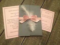 Gray and Pink Shabby Chic Wedding Invitation with white feather