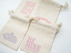 4 Muslin Gift Bags Valentine Themed Gift Bags by WitsEndDesign