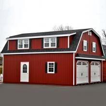 24x28 2 Car 2 Story Garage - Gambrel Roof - Carriage Doors - Shed Dormer