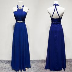 Custom Made Magnificent Sleeveless Prom Dresses, Royal Blue Sleeveless Prom Dresses, Long Prom Dresses, Royal Blue Halter Beading Backless Pretty Long Prom Dresses