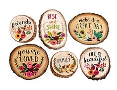 Wood slices by Rosabebe on Creative Market - Before After DIY Wood Slice Crafts, Wood Burning Crafts, Wood Crafts, Painted Rocks, Hand Painted, Painted Wood, Wood Circles, Wood Ornaments, Wood Slices