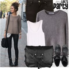 So my style!!  I wore an outfit similar to this look the other day...but in navy & dark brown, with my brown lace up boots!