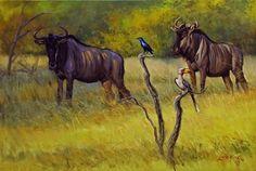 blue wildbeest, blouwildebeeste skildery, painting of bleu wildbeest, skildery van blouwildebeeste, africa blue wildbeest, afrika blou wildebeeste, africa sunset painting, afrika sonsondergang skildery