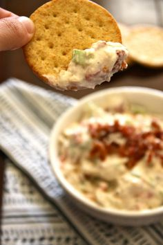 BLT dip with cream ch ranch dressing bacon tomato celery onion on wheat cracker