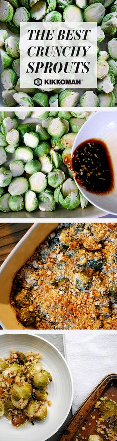 A crunchy side dish for a holiday feast: Kikkoman Soy Sauce Brussels Sprouts with Panko and Cashew Topping. The satisfying crunch comes from Kikkoman Panko Bread Crumbs and crushed cashews, the incredible flavor is thanks to a mix of Kikkoman Soy Sauce, tahini, white wine vinegar, honey, oil, lemon juice, and fresh garlic. | Discover your favorite Thanksgiving sides and festive recipe ideas on the Kikkoman USA website.