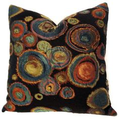 Multicolor Chihuly Abstract Circle Pillow Cover 18x18 by PopOColor, $50.00