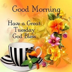 Good Morning, Have a Great Tuesday, God Bless #tuesday flowers bird tuesday morning