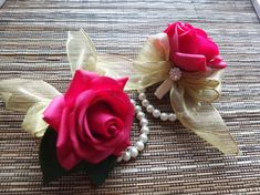Wrist Corsage Hot Pink rose with gold organza by LoveMimosaFleur