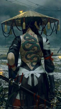 Super Cool Samurai Girl with Dragon Tattoos