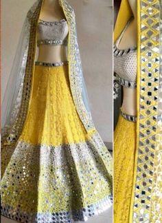 Yellow An Off White Heavy Mirror Work Thread Resham Work Wedding Lehenga Choli http://www.angelnx.com/