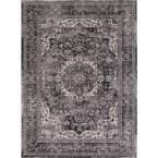 Kashan Collection Heriz Anthracite (Grey) Rectangle Indoor 9 ft. 3 in. x 12 ft. 6 in. Area Rug