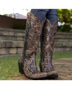Corral Women's Black/Brown Inlay and Studs Boot - G1069  http://www.countryoutfitter.com/products/36369-womens-black-brown-inlay-and-studs-boot-g1069