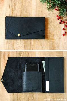 black leather phone clutch