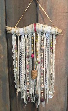 Boho Wall Hanging Woodland Nursery Decor Pink Beaded: change to hooks hanging necklaces!