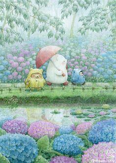 Illustration Artists, Illustrations, Cute Illustration, Cute Animal Drawings, Kawaii Drawings, Cute Drawings, Pretty Art, Cute Art, Kawaii Wallpaper