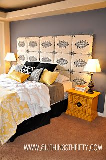 In my master bedroom, I wanted an extra large headboard that would make a statement.Here are my instructions on how to make a fabric headboard.not just any fabric headboard. Step Find fabric that Bedroom Color Schemes, Bedroom Colors, Bedroom Decor, Bedroom Ideas, Bedroom Inspiration, Design Bedroom, Bedroom Furniture, Style Inspiration, Ikea Mandal
