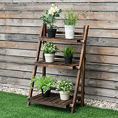 Amazon.com : Giantex 3 Tier Folding Wood Flower Pot Shelf Stand Wooden Display Rack Indoor Outdoor Garden : Garden & Outdoor