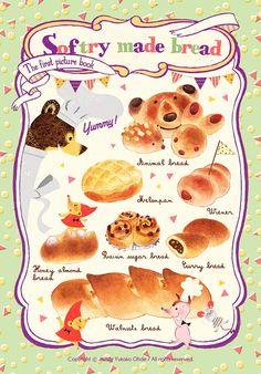 Softry made bread / original Food C, Food Menu, Recipe Drawing, Chibi Food, Food Painting, Cooking Ingredients, Food Drawing, Food Illustrations, Cute Food
