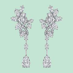 """Boucles d'oreilles """"Secret Closter"""" en platine serties de diamants taille marquise, poire et brillant, Harry Winston."""