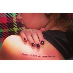 Demi Lovato gets Warrior tattoo ❤ liked on Polyvore featuring tattoos