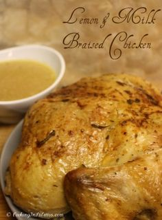 My new favorite roasted chicken - a Lemon & Milk Braised Chicken      http://cookinginstilettos.com/lemon-and-milk-braised-chicken/